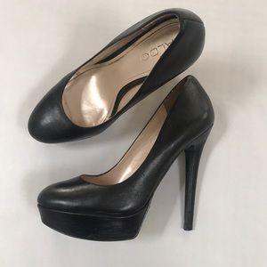 Aldo pumps platform high heels black leather 37